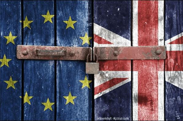 Flaggen Europa Großbritannien verrammelt Brexit