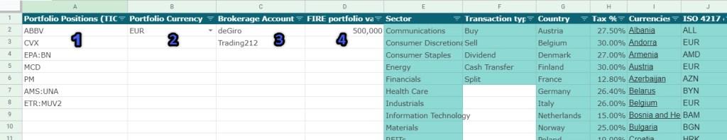 Dividend Portfolio Tracker - Reference Data worksheet configuration