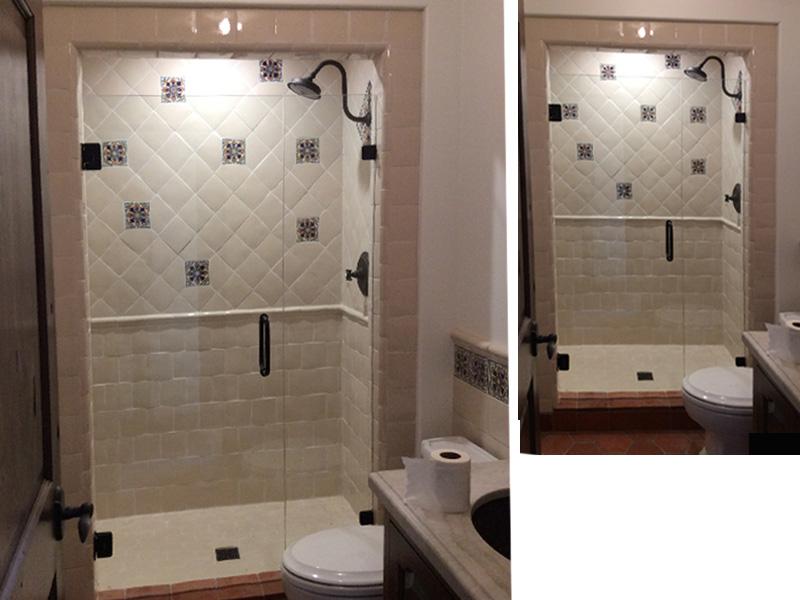 custom shower tile design in tan and