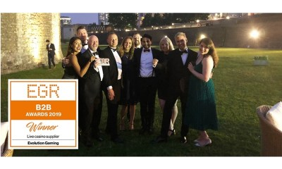 Evolution crowned Live Casino Supplier of the Year for tenth year running at the EGR B2B Awards