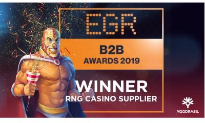 Yggdrasil named RNG Casino Supplier of the year at EGR B2B Awards 2019