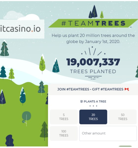 Bitcasino.io champions crypto-community in #teamtrees movement donating over $100k