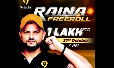 "9stacks celebrates the signing of Suresh Raina as brand ambassador by hosting ""Raina Freeroll"" tournament on 27th Oct 2020"