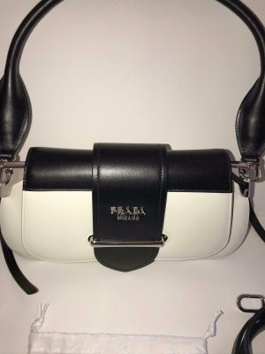 Prada 1bd168 sidione leather shoulder bag white black
