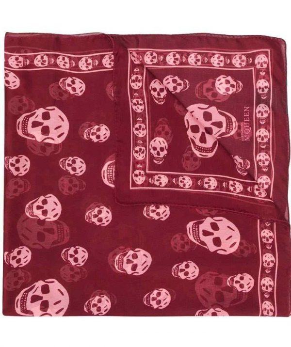 Alexander mcqueen 110640 classic silk chiffon skull scarf - burgundy