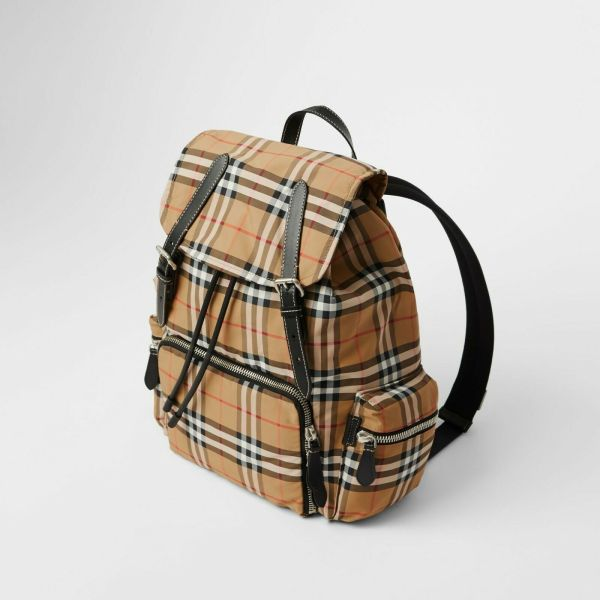 Burberry 8005141 large rucksack in vintage check nylon antique yellow