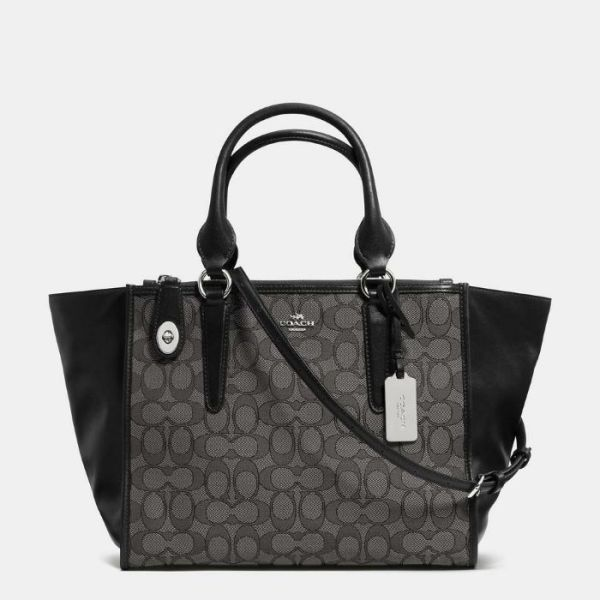 COACH 33524 CARRYALL IN SIGNATURE JACQUARD SATCHEL SMOKE BLACK