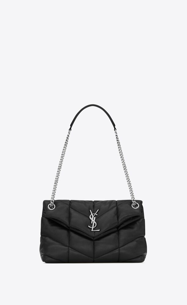 SAINT LAURENT 577476 PUFFER SMALL BAG IN QUILTED LAMBSKIN BLACK