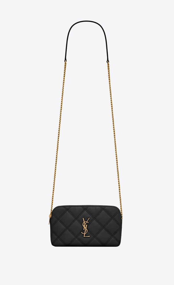 SAINT LAURENT 608941 BECKY DOUBLE-ZIP POUCH IN QUILTED LAMBSKIN BLACK