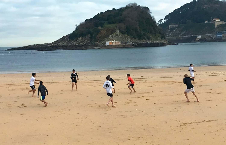 Training on the beach in San Sebastián