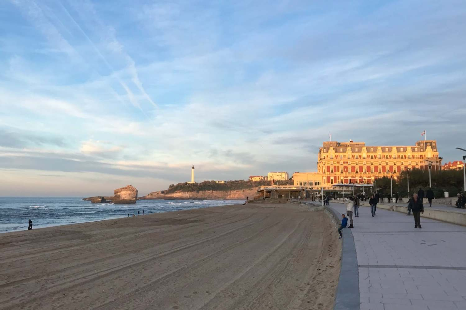 Grande Plage and the lighthouse in Biarritz, France