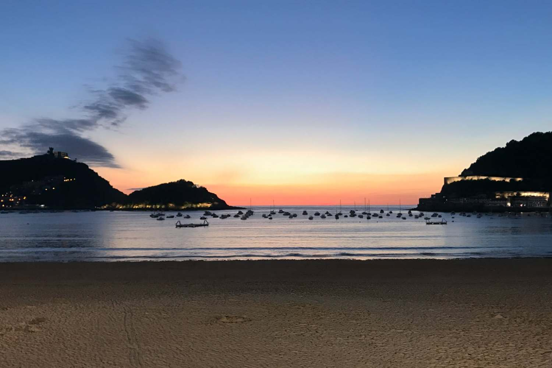 Just another glorious sunset on La Concha beach, San Sebastián