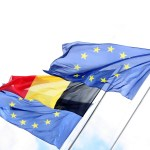Flags of the European Union and Belgium