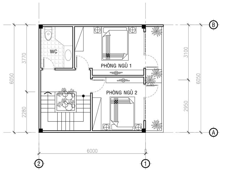 mặt bằng tầng 2 mẫu nhà phố 4 tầng đẹp hiện đại