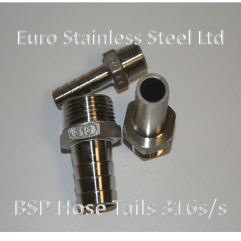 """BSP Hose Tails 1/4"""" to 4"""" 316s/s"""