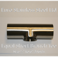 "Equal Short Branch Tee Size 1/2"" to 6"" 316s/s"