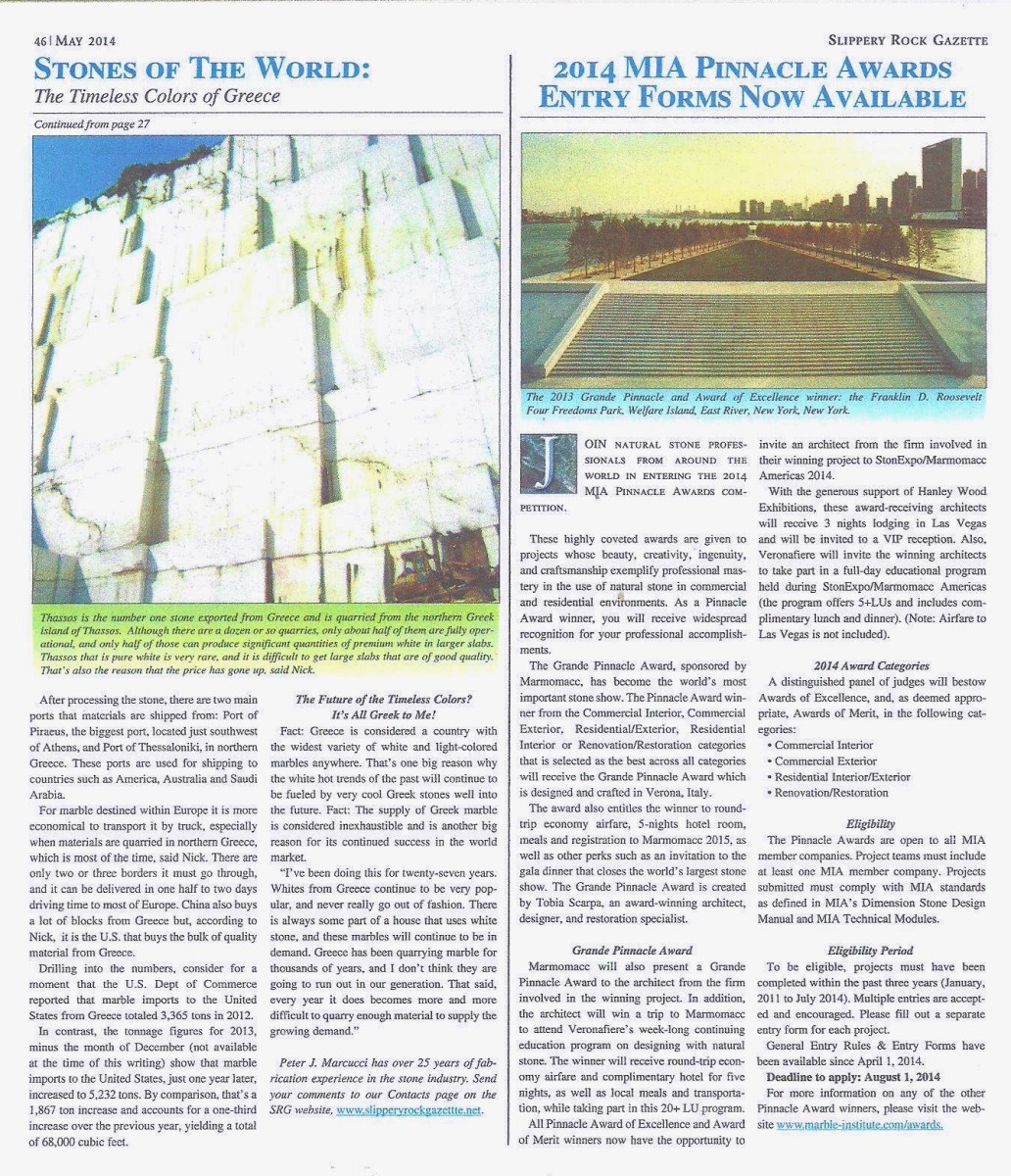 Slippery Rock Gazette Article Eurostone Houston