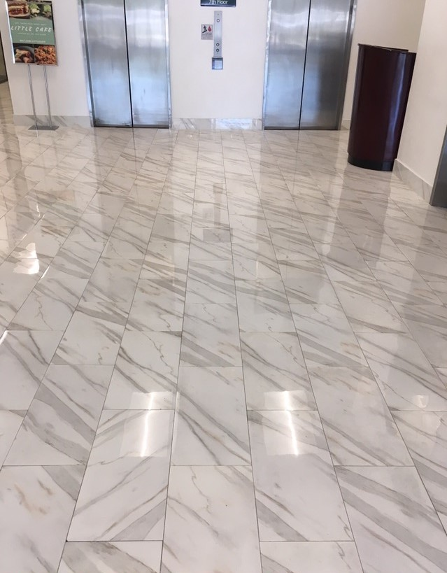 "Olympus White 12"" x 24"" Natural Marble Tile Floor."