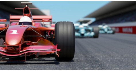 Close front view of a red race car on a track. High resolution 3D render.