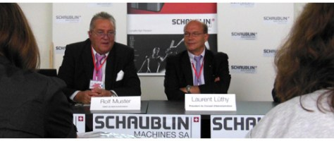 Rolf Muster, CEO and delegate of the board and Laurent Luthy, president of the board of directors at the press conference. Both are confident for the Swiss industry and Schaublin Machines.