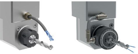 Left: prior to retrofitting: Inefficient transportation of the coolant to the cutting edge.  Right: after retrofitting: Optimum guidance of the coolant to the tool cutting edge with reCool® coolant flush disk.
