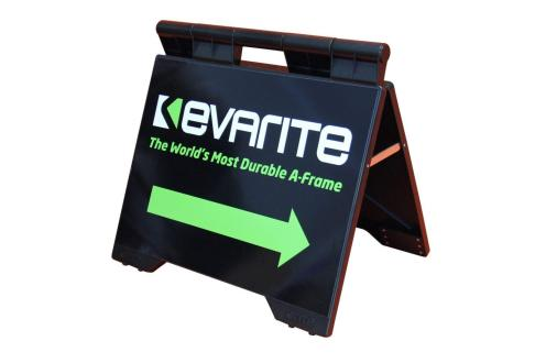 evarite sign a-frame black right pointing arrow photo