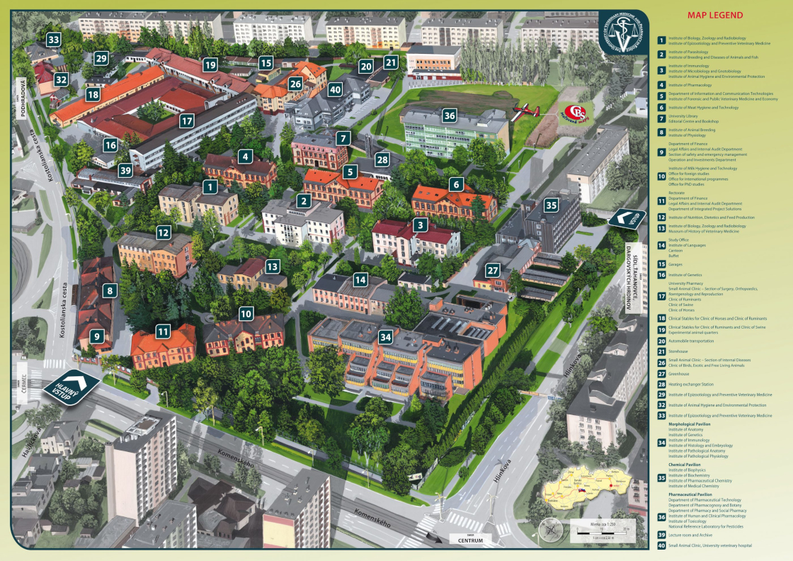 map of the university campus in kosice slovakia