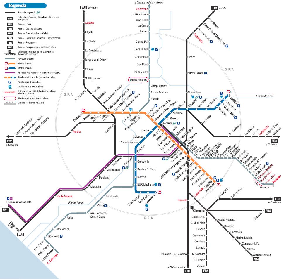 Mapa del Metro de Roma