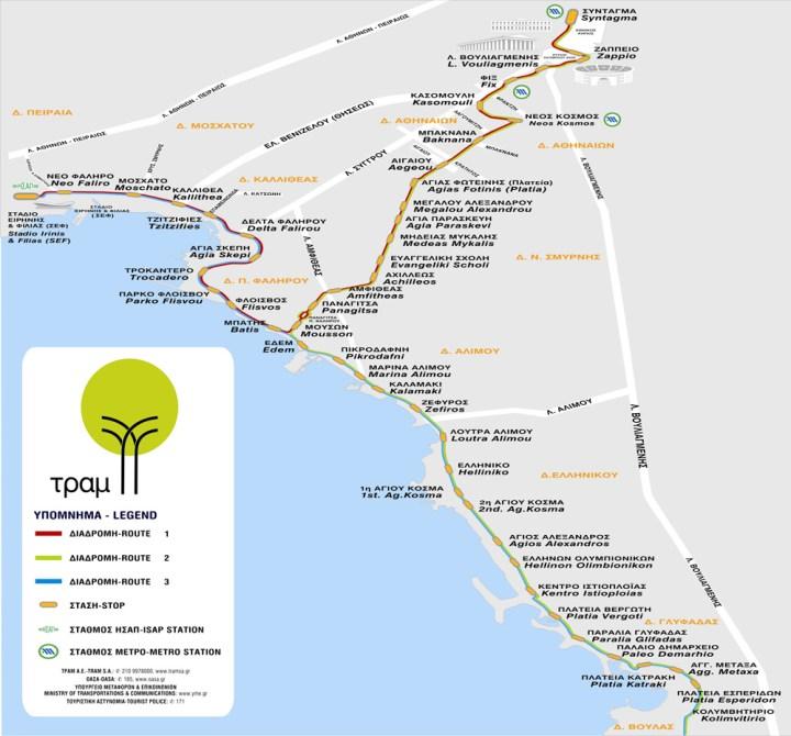 Mapa del Tranvía de Atenas