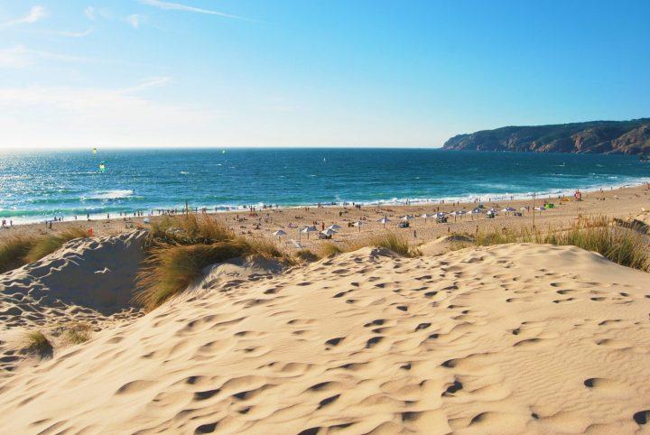 Sand dunes on Guincho Praia Grande beach
