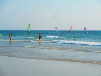 Windsurfers on Carcavelos beach
