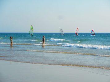 Windsurfers on Carcavelos beach