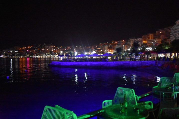 Bars in Saranda by night