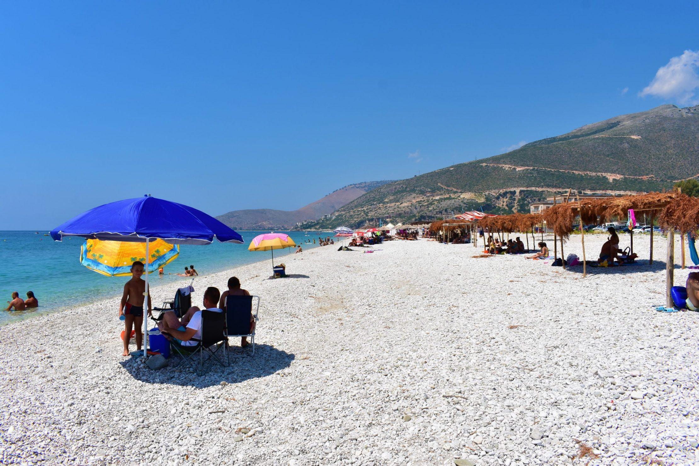 Borshi beach, one of the longest on the Albanian Riviera