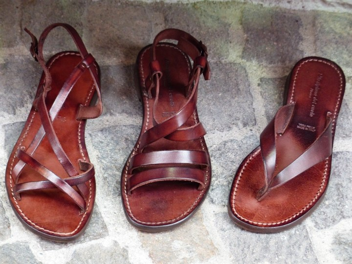 Handmade leather sandals - shopping in Athens