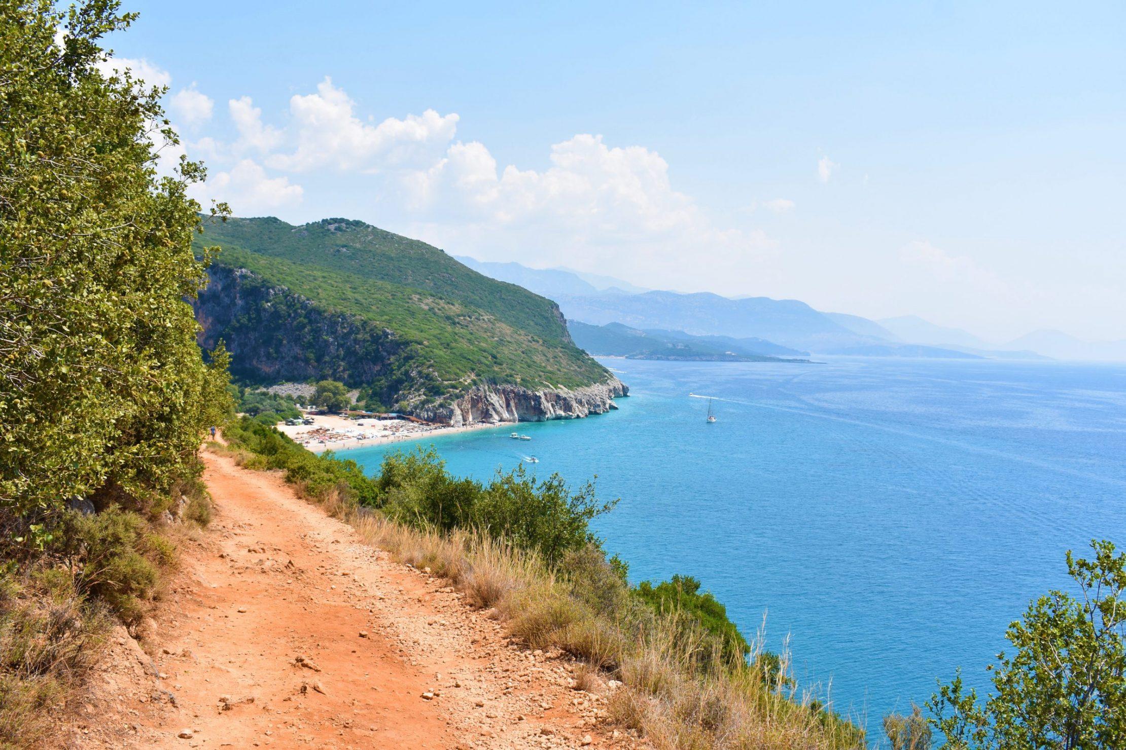 Scenic path leading to Gjipe Canyon beach