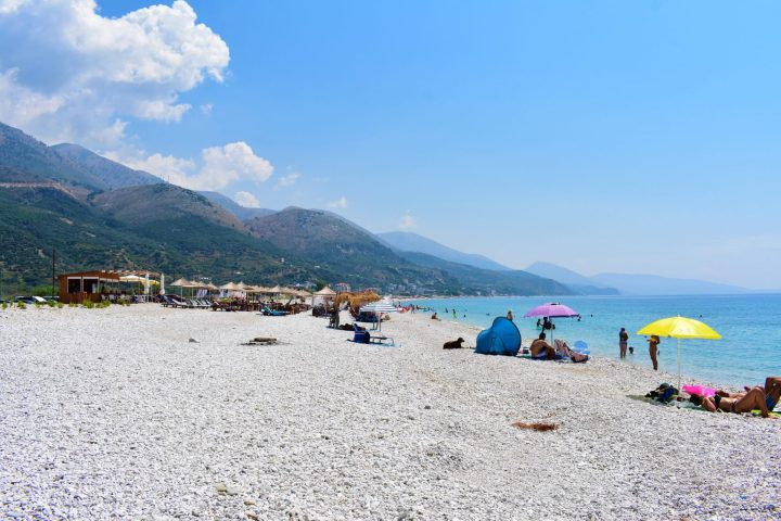 Vast beach of Borshi, Albania