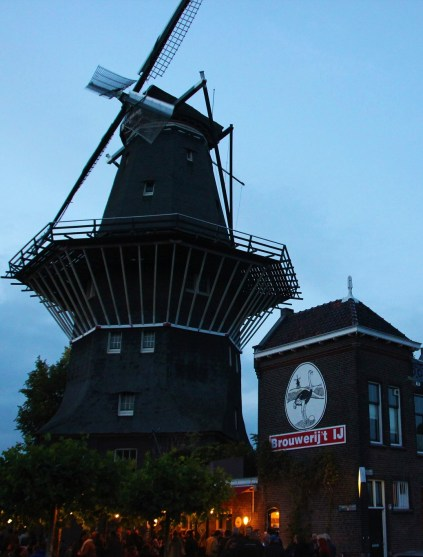 De Gooyer windmill with Brouwerijt IJ microbrewery and bar