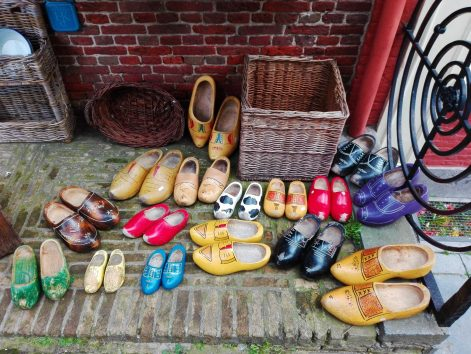 Clogs in a vintage shop
