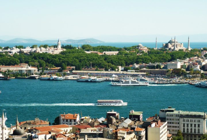 A view across Bosphorus at Topkapi Palace (left) and Hagia Sophia (right) - Istanbul main attractions