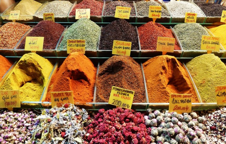 Exotic tea, herb and spices on The Egyptian Spice Bazaar in Istanbul; Istanbul main attractions