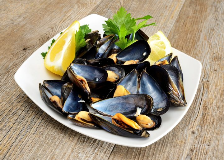 Mussels served simply with lemon and salt