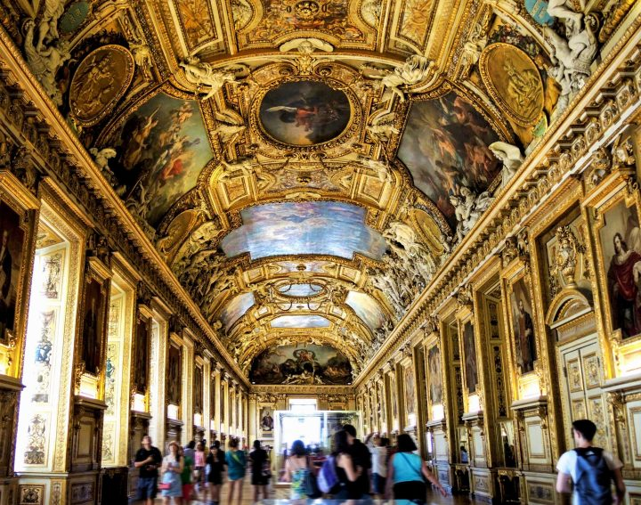 Fascinating palatial interiors of one of numerous painting galleries in The Louvre in Paris