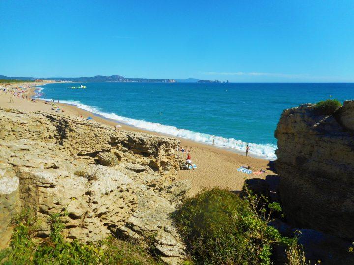 Long, large golden beach Platja de Pals - one of the best beaches in Costa Brava, Spain