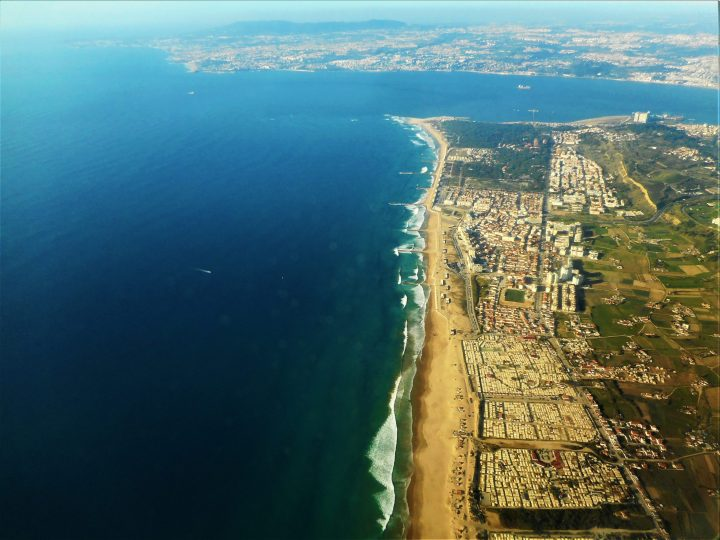 Overview of a part of Costa da Caparica beaches in Portugal
