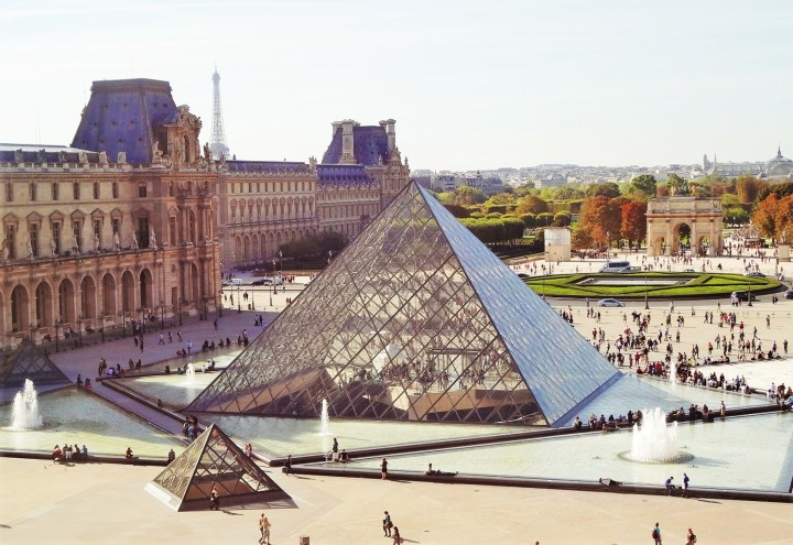 Spectacular monumental and modern architecture of The Louvre in Paris