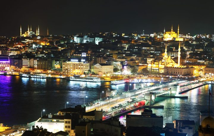 Vivid nightlife along the shore next to the Galata Bridge - the view from Galata Tower - Istanbul main attractions