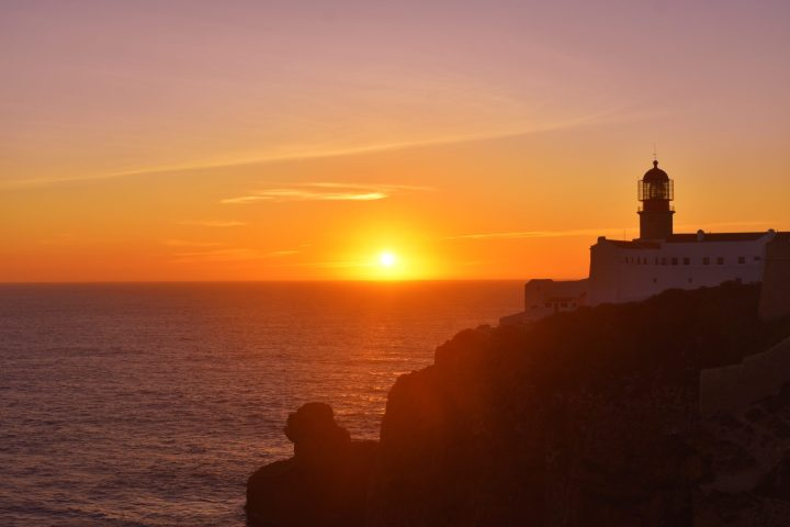 Beautiful lighthouse Farol do Cabo de São Vicente marks the southernmost point of Portugal