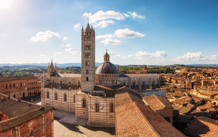 View of the splendid old town of Siena, Italy