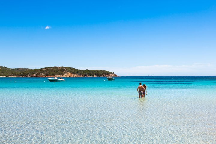 Dreamy beauty of crystalline waters of Rondinara beach in south of Corsica, France